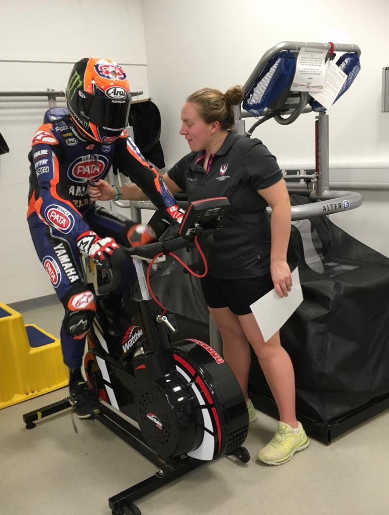 Michael van der Mark doing a fitness test in full riding gear at Loughborough Sport at Loughborough University in the UK. Photo courtesy of Yamaha.