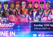 Riders scheduled to take part in MotoGP Virtual Race Two include (from left): Valentino Rossi, Maverick Vinales, Danilo Petrucci, Michele Pirro, Francesco Bagnaia, Tito Rabat, Takaaki Nakagami, Fabio Quartararo, Alex Marquez, and Marc Marquez. Image courtesy of Dorna.