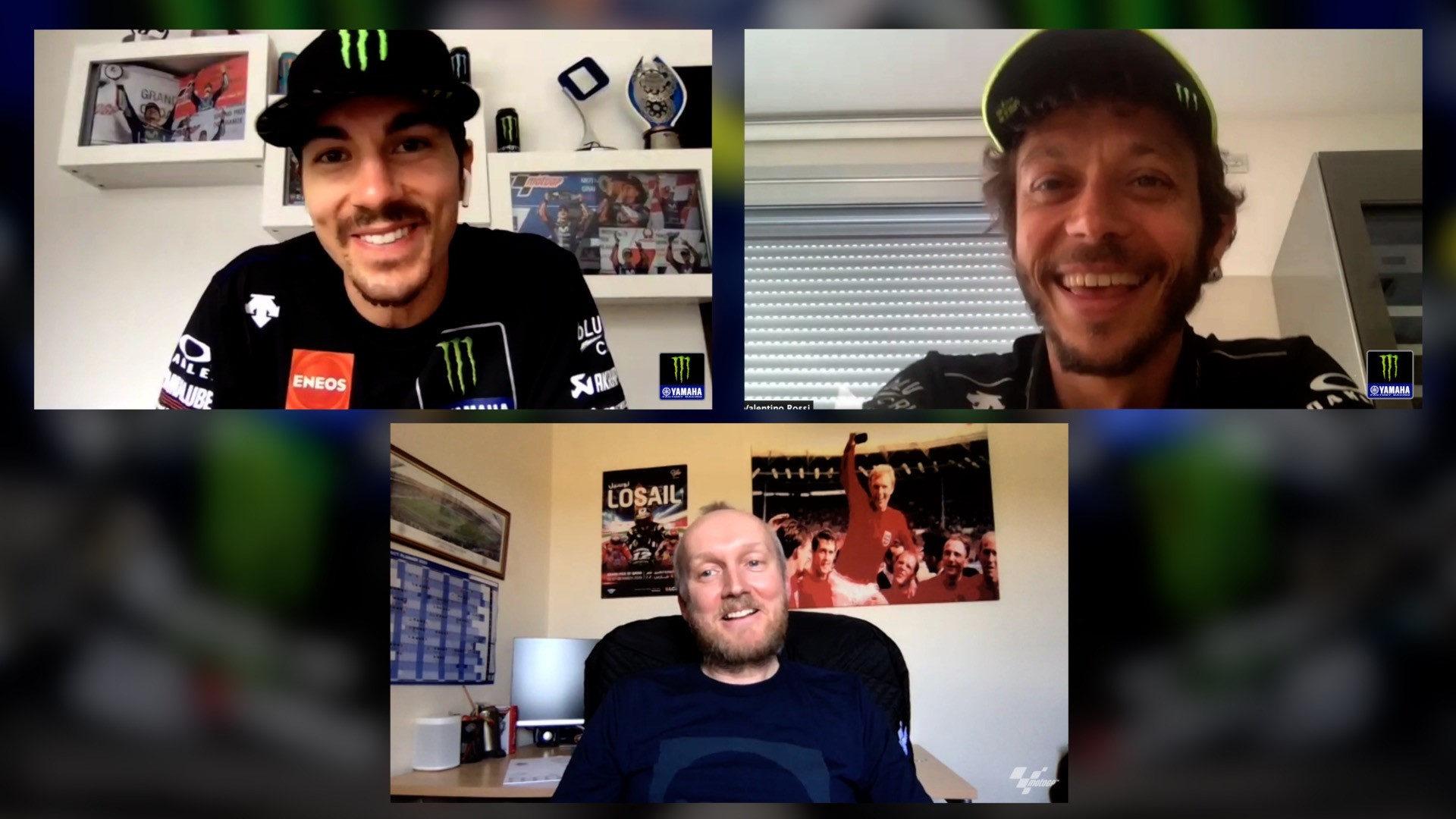 (Clockwise from top left) Maverick Vinales, Valentino Rossi, and journalist and MotoGP commentator Matt Birt. Photo courtesy of Monster Energy Yamaha.