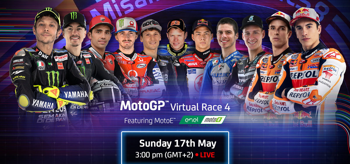 MotoGP Virtual Race 4 is scheduled to include (from left) Valentino Rossi , Maverick Vinales, Michele Pirro, Francesco Bagnaia, Lorenzo Savadori, Tito Rabat, Takaaki Nakagami, Joan Mir, Fabio Quartararo, Alex Marquez, and Marc Marquez. Image courtesy of Dorna