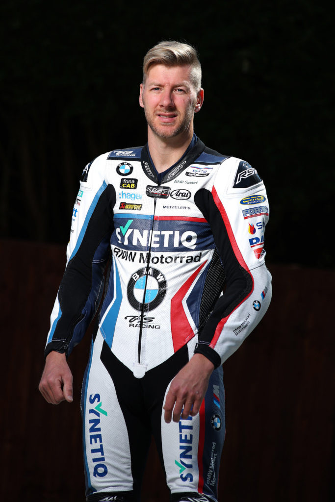 Ian Hutchinson in his new Synetiq-branded leathers. Photo by Double Red Photographic, courtesy BMW Motorrad Motorsport.