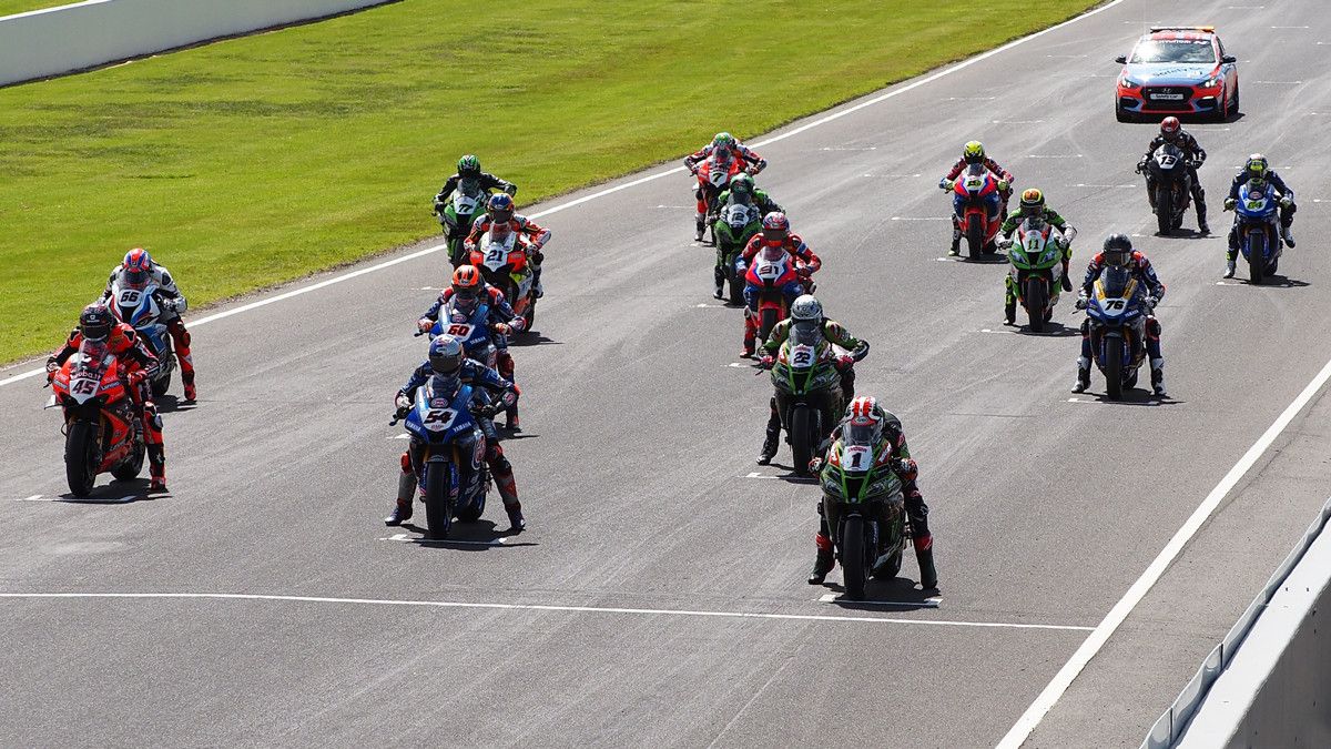 The starting grid for World Superbike Race Two at Phillip Island. Photo courtesy Dorna.