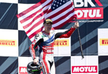 Nicky Hayden, after finishing third in World Superbike Race One at Laguna Seca in 2016. Photo courtesy Honda.