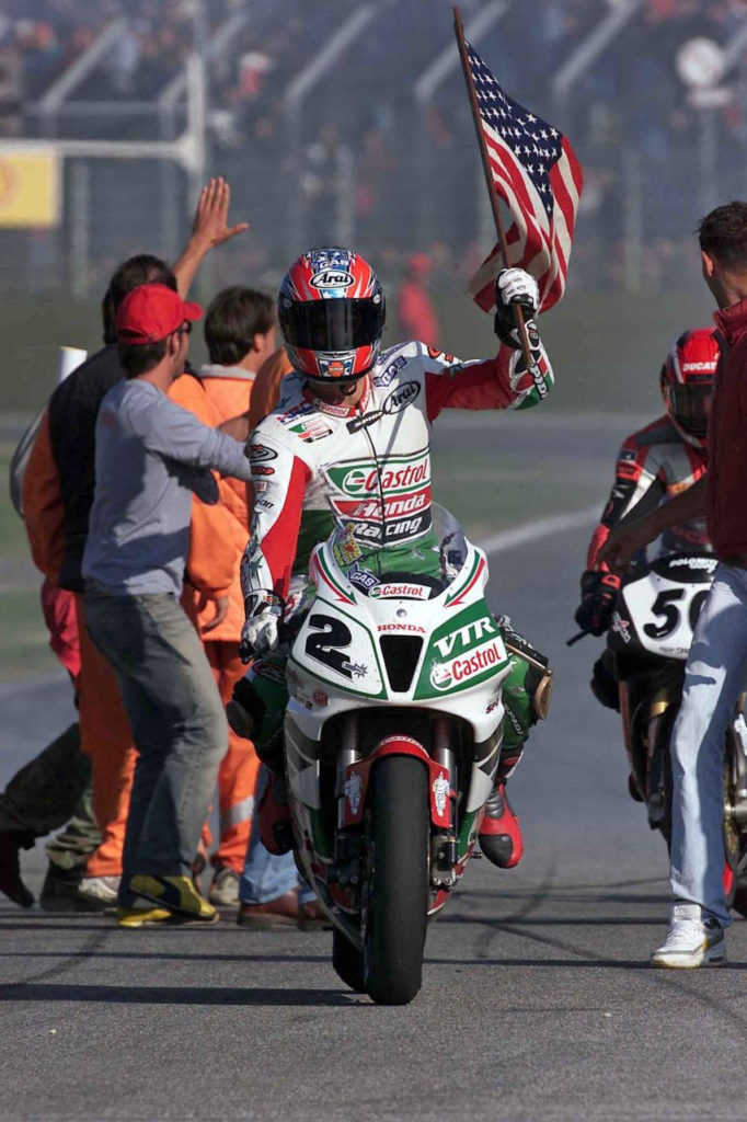 Colin Edwards (2), after winning two races at Imola and the 2002 FIM Superbike World Championship. Photo courtesy of Honda Racing Corporation (HRC).