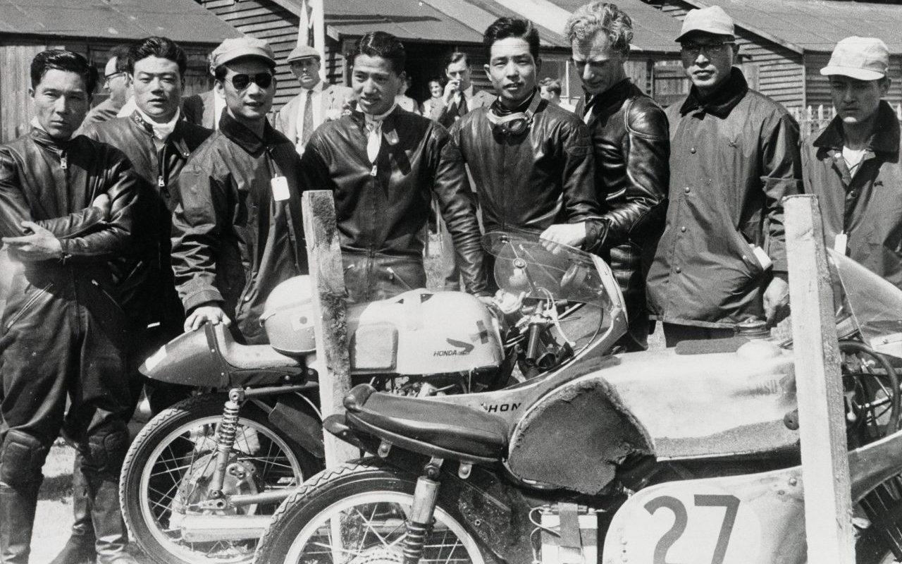 Honda's race team at the Isle of Man TT in 1959. Photo courtesy Honda Pro Racing.