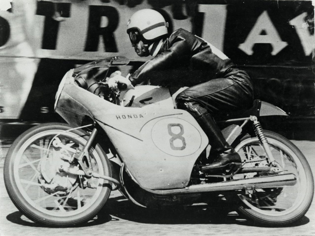 Naomi Taniguchi (8) at speed on his Honda RC142 Grand Prix racebike at the Isle of Man TT in 1959. Photo courtesy Honda Pro Racing.