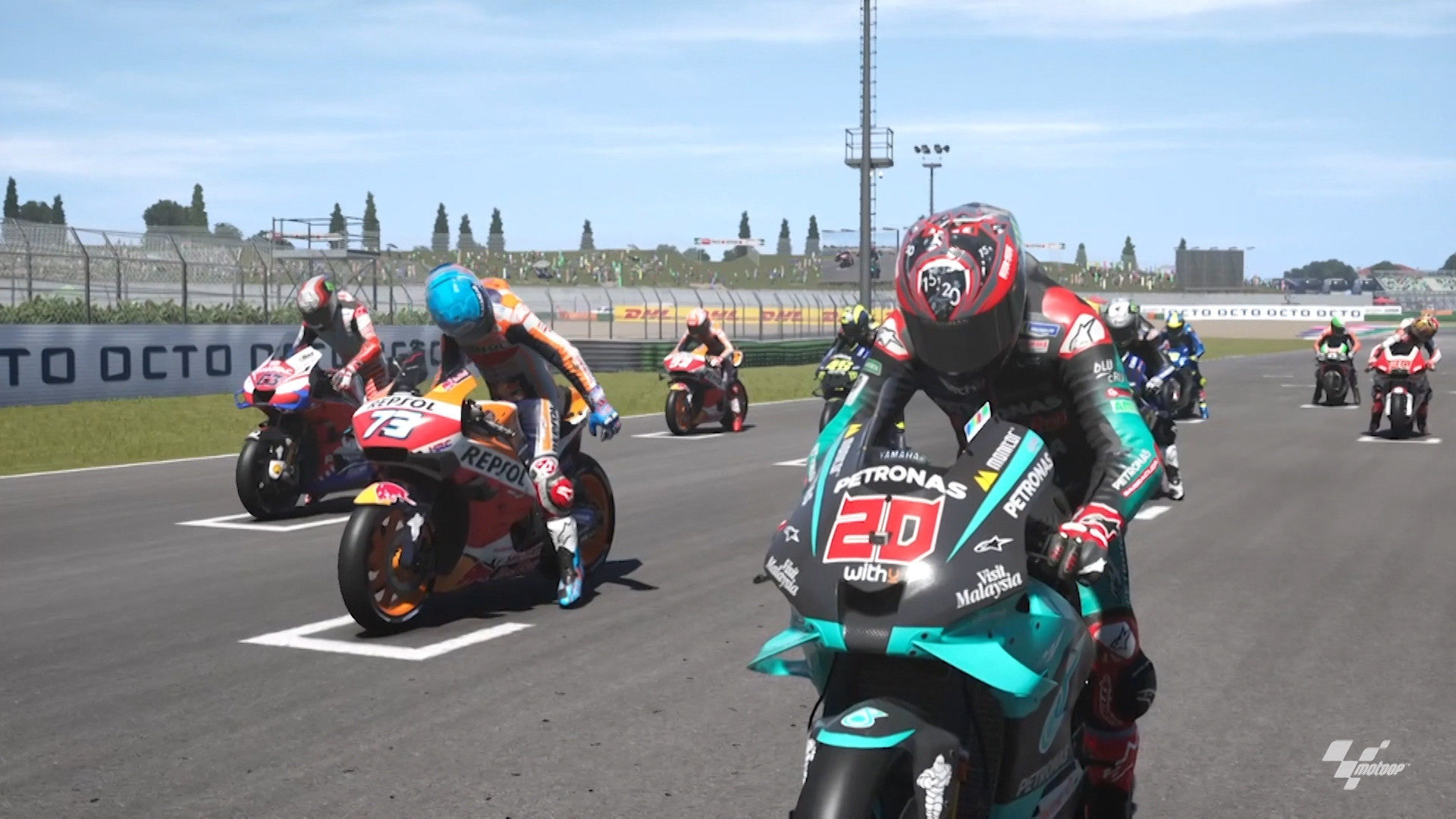MotoGP riders on the starting grid for Virtual Race 4 at Misano. Image courtesy Dorna.