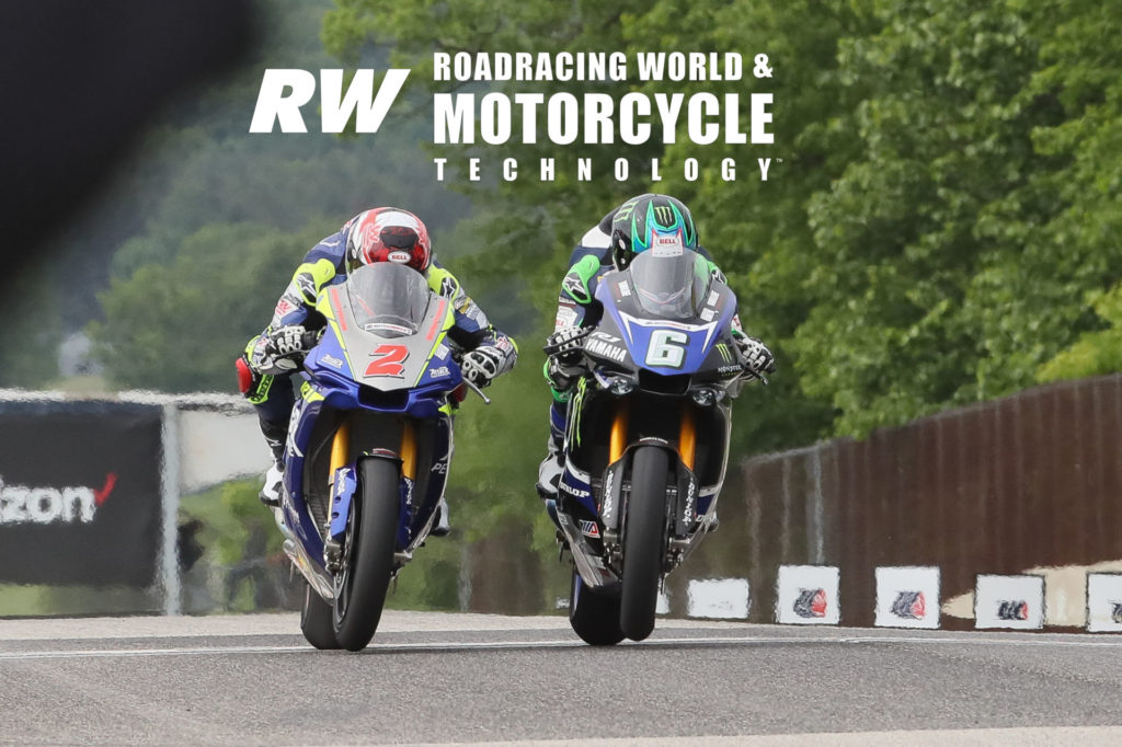 Josh Herrin (2) and Cameron Beaubier (6) fight wheelies as they race up Road America's front straightaway toward the finish line at the end of MotoAmerica Superbike Race One in 2018. Beaubier won. Photo by Brian J. Nelson.