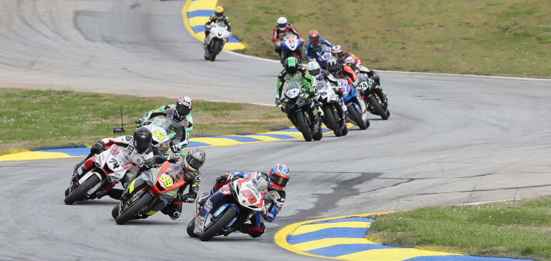 Sean Dylan Kelly (40), PJ Jacobsen (99), Bryce Prince (74), Richie Escalante (54), and others in action during MotoAmerica Supersport Race One at Road Atlanta in 2019. Photo by Brian J. Nelson.