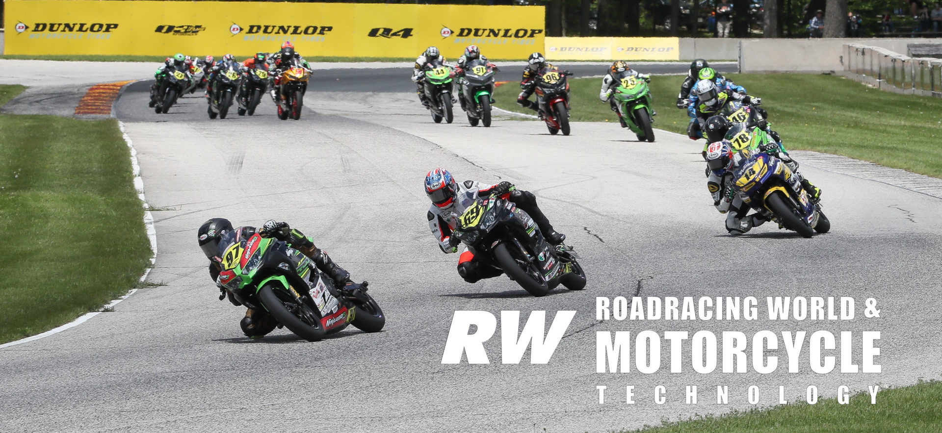 Rocco Landers (97) leads Dallas Daniels (69), Kevin Olmedo (14), Damian Jigalov (78) and the rest of the field from Road America's Turn Six and into Turn Seven during MotoAmerica Junior Cup Race Two in 2019. Photo by Brian J. Nelson.