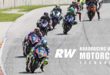 Toni Elias (24) leading the start of MotoAmerica Superbike Race Two at Road America in 2019. Photo by Brian J. Nelson.