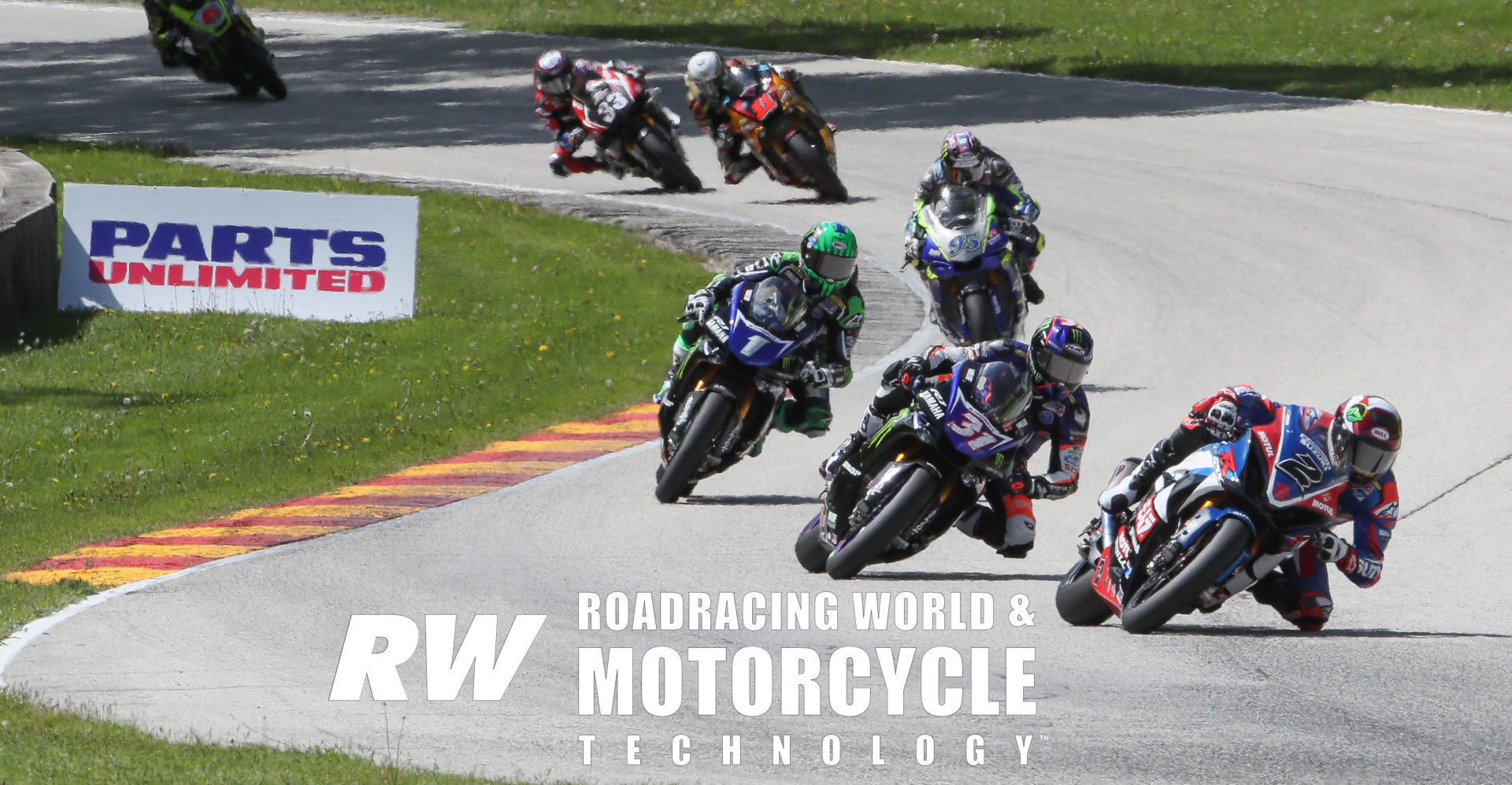 Josh Herrin (2) shows Garrett Gerloff (31), Cameron Beaubier (1), JD Beach (95), Mathew Scholtz (11), Kyle Wyman (33), and Cameron Petersen (45) the way from Canada Corner to Turn 13 and onto the final turn at Road America during MotoAmerica Superbike Race Two in 2019. Photo by Brian J. Nelson.