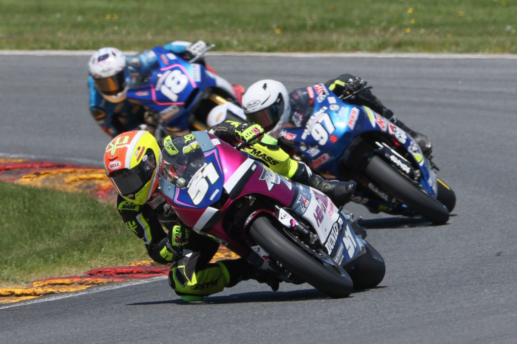 Kaleb De Keyrel (51), Rocco Landers (97), and Jackson Blackmon (18) race for the lead in MotoAmerica Twins Cup Race Two at Road America. Photo by Brian J. Nelson, courtesy MotoAmerica.