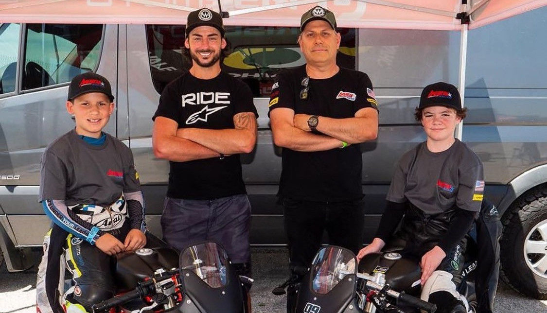 (from left) Travis Horn, John Hopkins, Eitan Butbul, and Jesse James Shedden. Photo courtesy of American Racing Team.