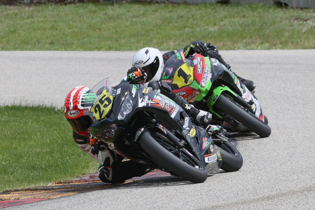 Dominic Doyle (25) and Rocco Landers (1) battling during MotoAmerica Liqui Moly Junior Cup Race Two at Road America. Photo by Brian J. Nelson, courtesy MotoAmerica.