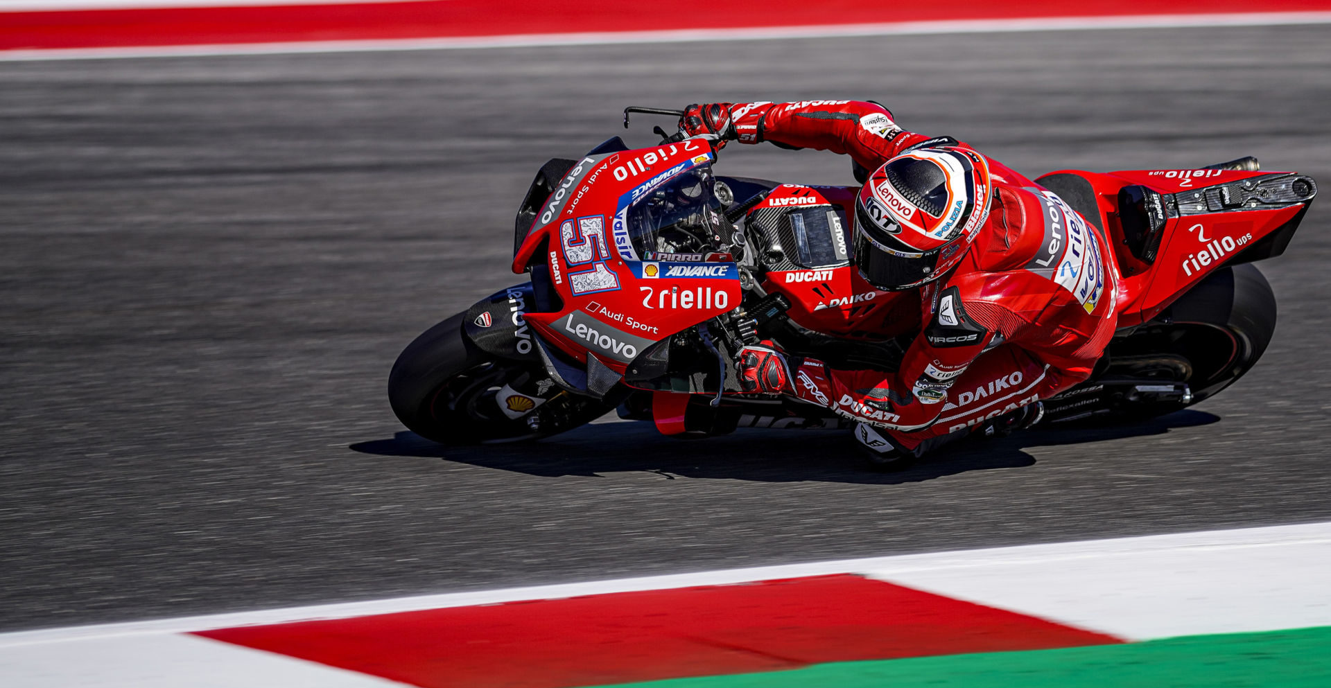 Ducati test rider Michele Pirro (51) competing as a wild card at Misano in 2019. Photo courtesy Ducati.