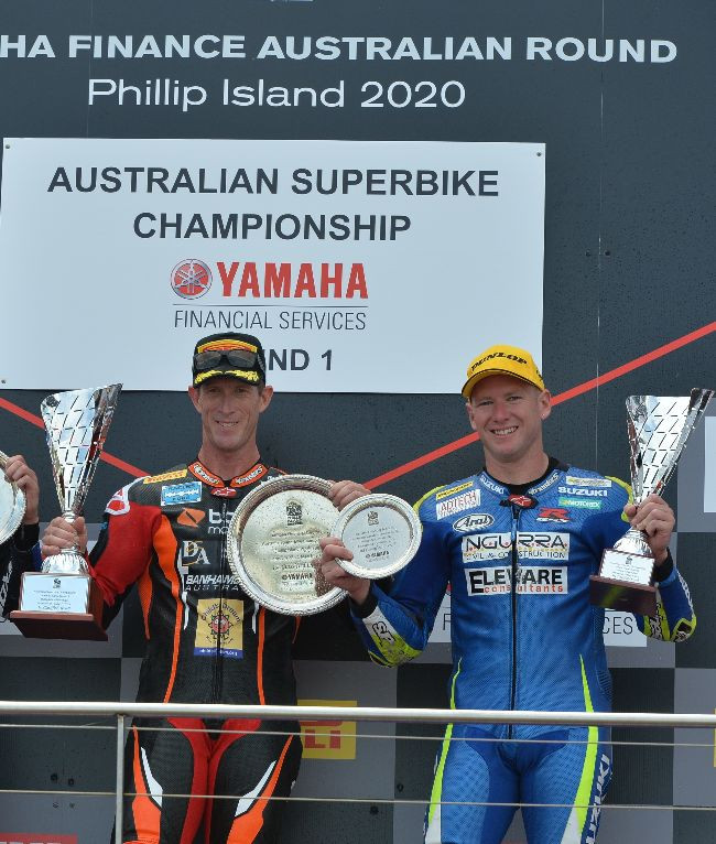 Australian Superbike racers Wayne Maxwell (left) and Josh Waters (right). Photo courtesy Motorcycling Australia.