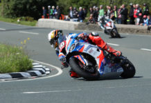 Peter Hickman (10) in action during the 2019 Isle of Man TT. Photo courtesy of Isle of Man TT Press Office.