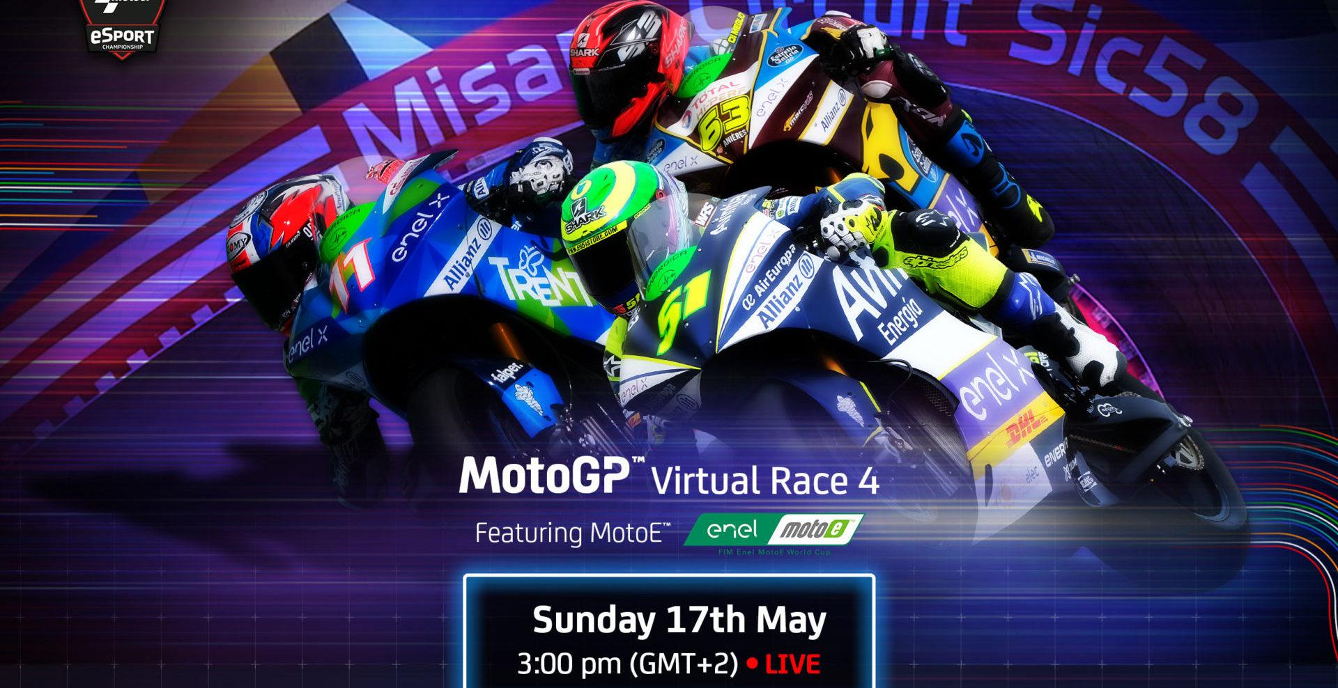 The MotoE class will be part of MotoGP Virtual Race 4 on May 17. Image courtesy Dorna.