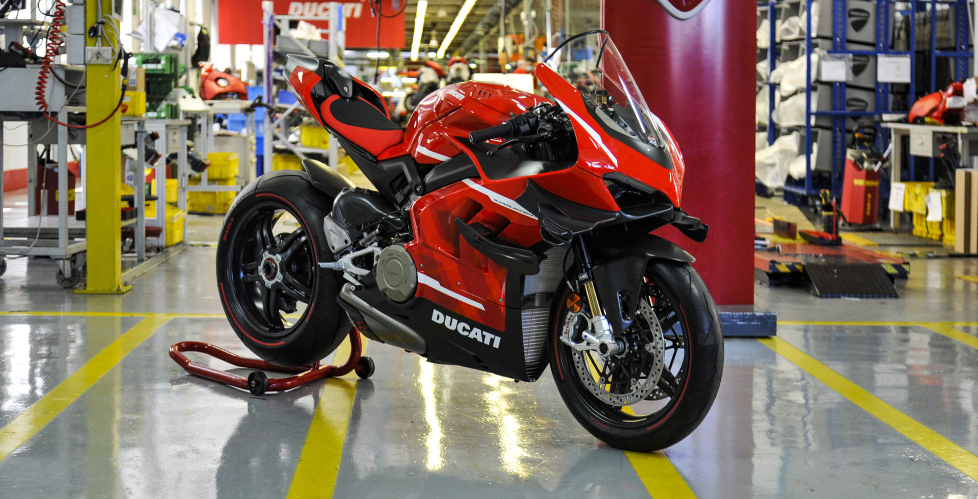 Ducati Superleggera V4 001 of 500 numbered units in the Ducati factory in Italy. Photo courtesy Ducati.