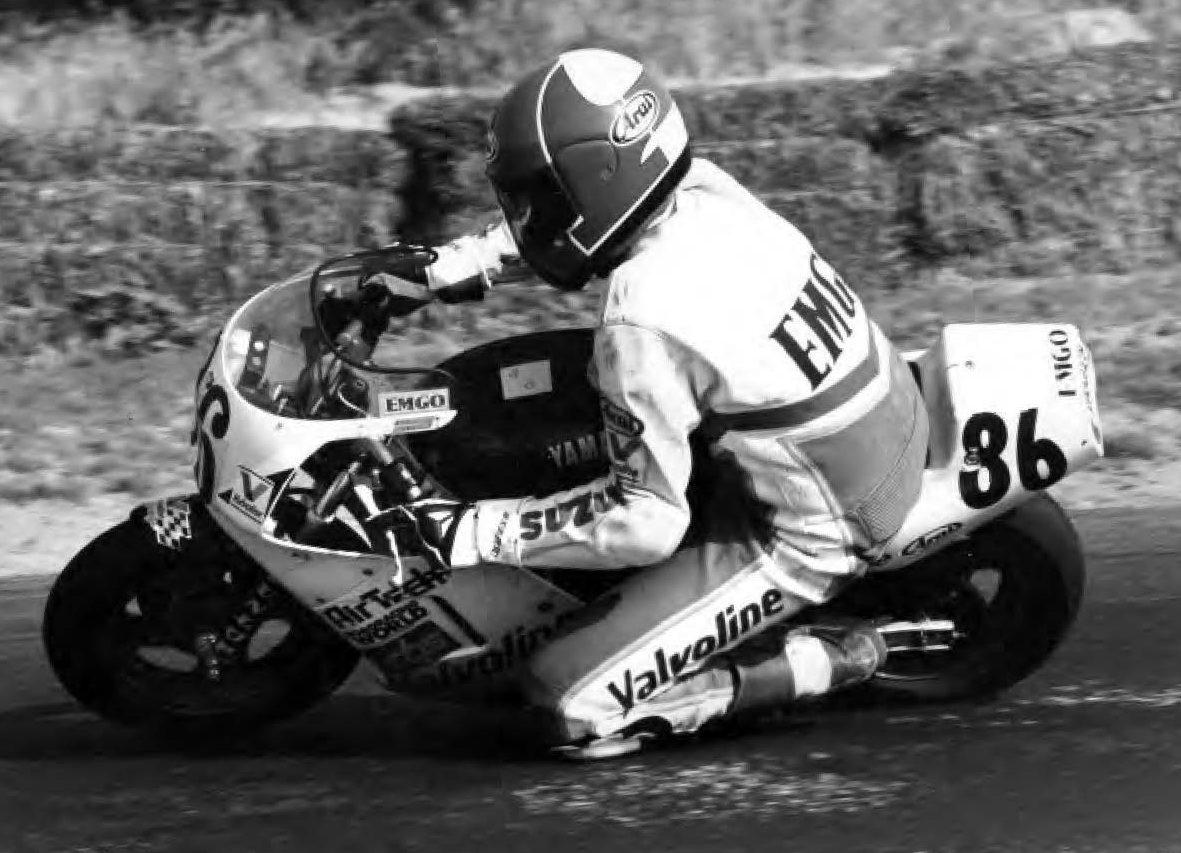 Chris Ulrich (86) on a YSR50 at a kart track in California, 1993.