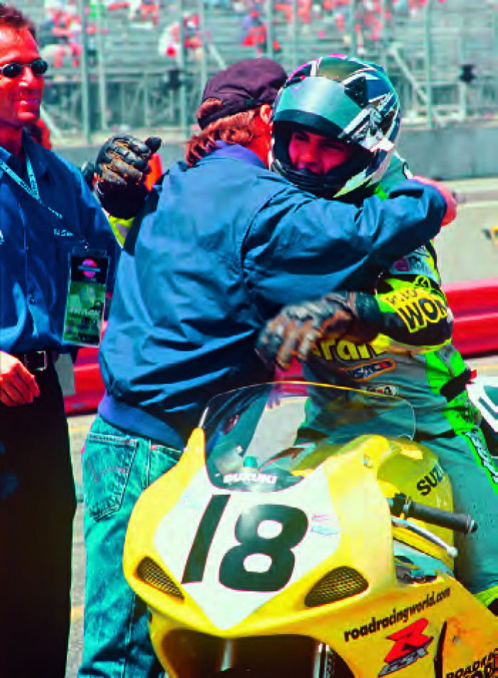 Chris Ulrich, after taking his career-first AMA Pro race win in 750cc Supersport at Laguna Seca in 2001.