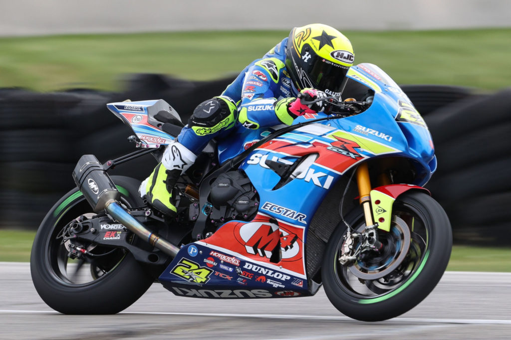 Toni Elias (24) during Race 2 at Road America. Photo by Brian J. Nelson, courtesy Suzuki Motor of America, Inc.