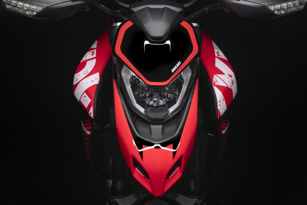 A head-on shot of a Ducati Hypermotard 950 RVE. Photo courtesy Ducati.