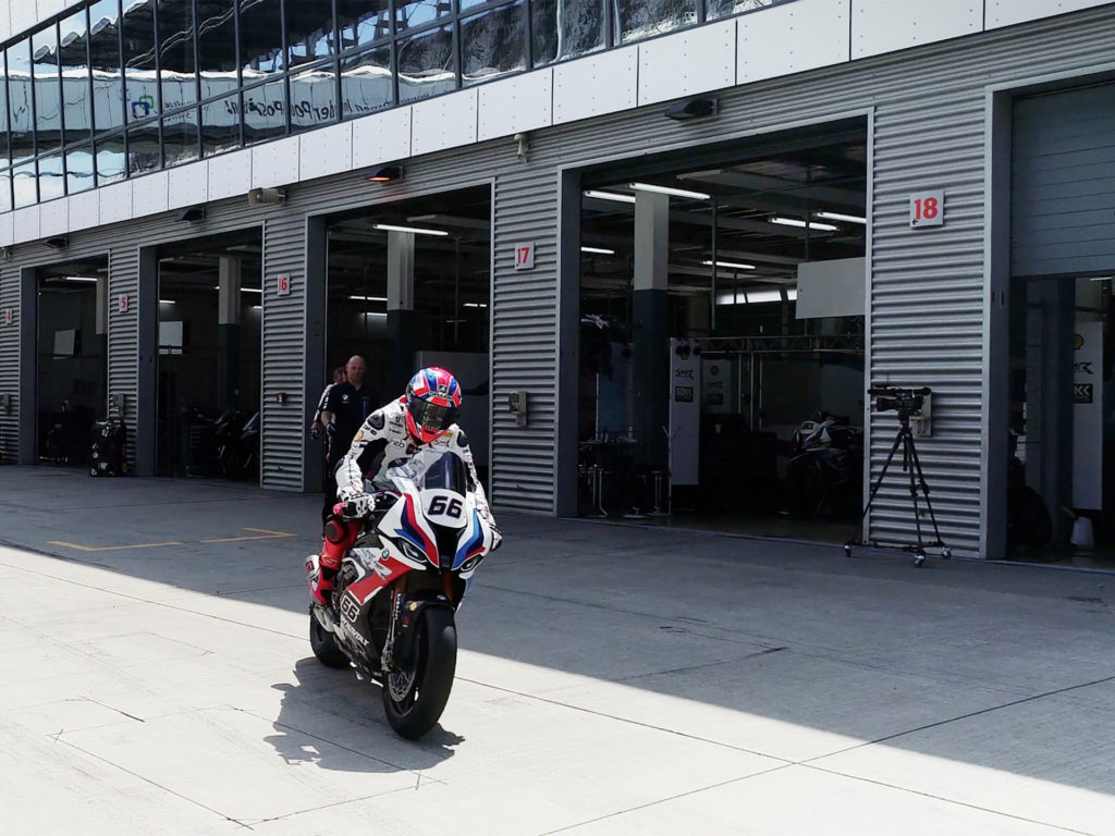 Tom Sykes (66) taking BMW S 1000 RR World Superbike out on track at Lausitzring, in Germany. Photo courtesy BMW Motorrad WorldSBK Team.