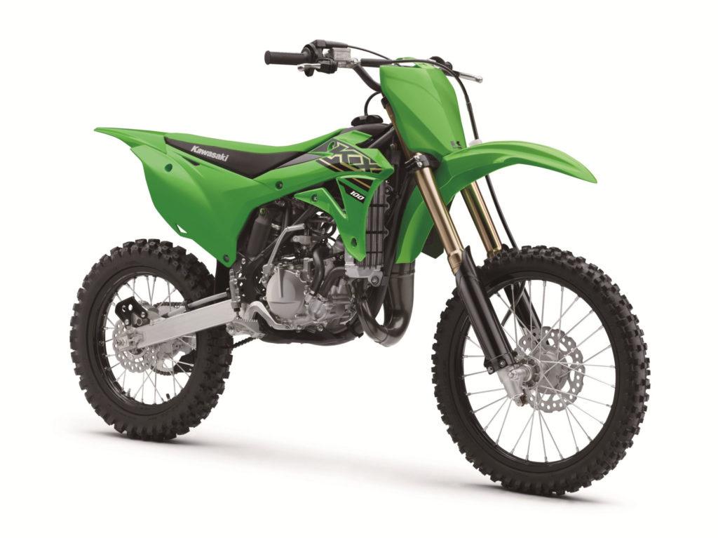 A 2021 Kawasaki KX100. Photo courtesy Kawasaki Motors Corp., U.S.A.