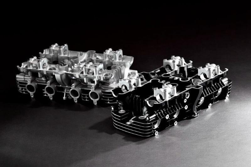 Reproduction Kawasaki cylinder heads. Photo courtesy Kawasaki Motors Corp., U.S.A.