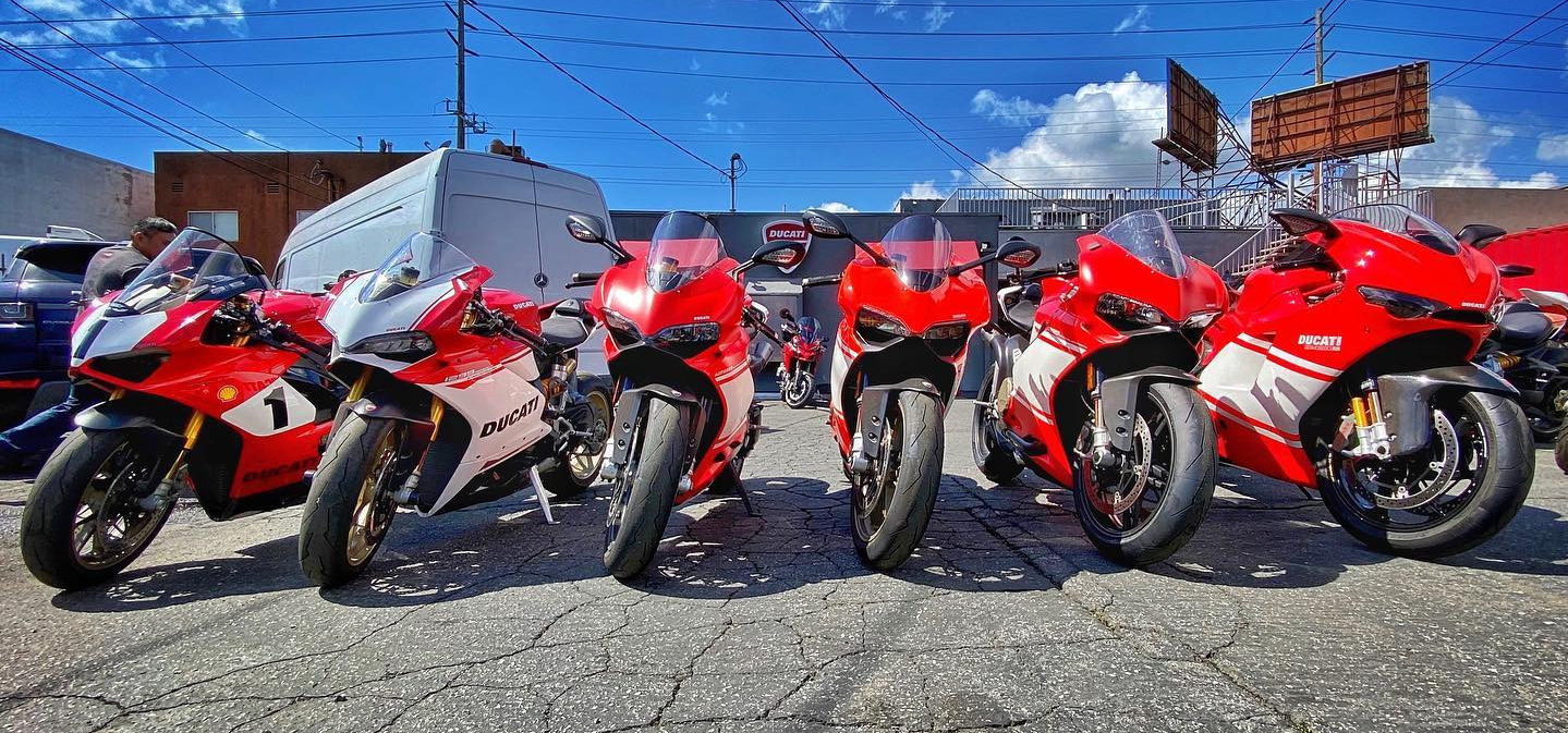 Ducati motorcycles in front of Beverly Hills Ducati. Photo courtesy Beverly Hills Ducati.