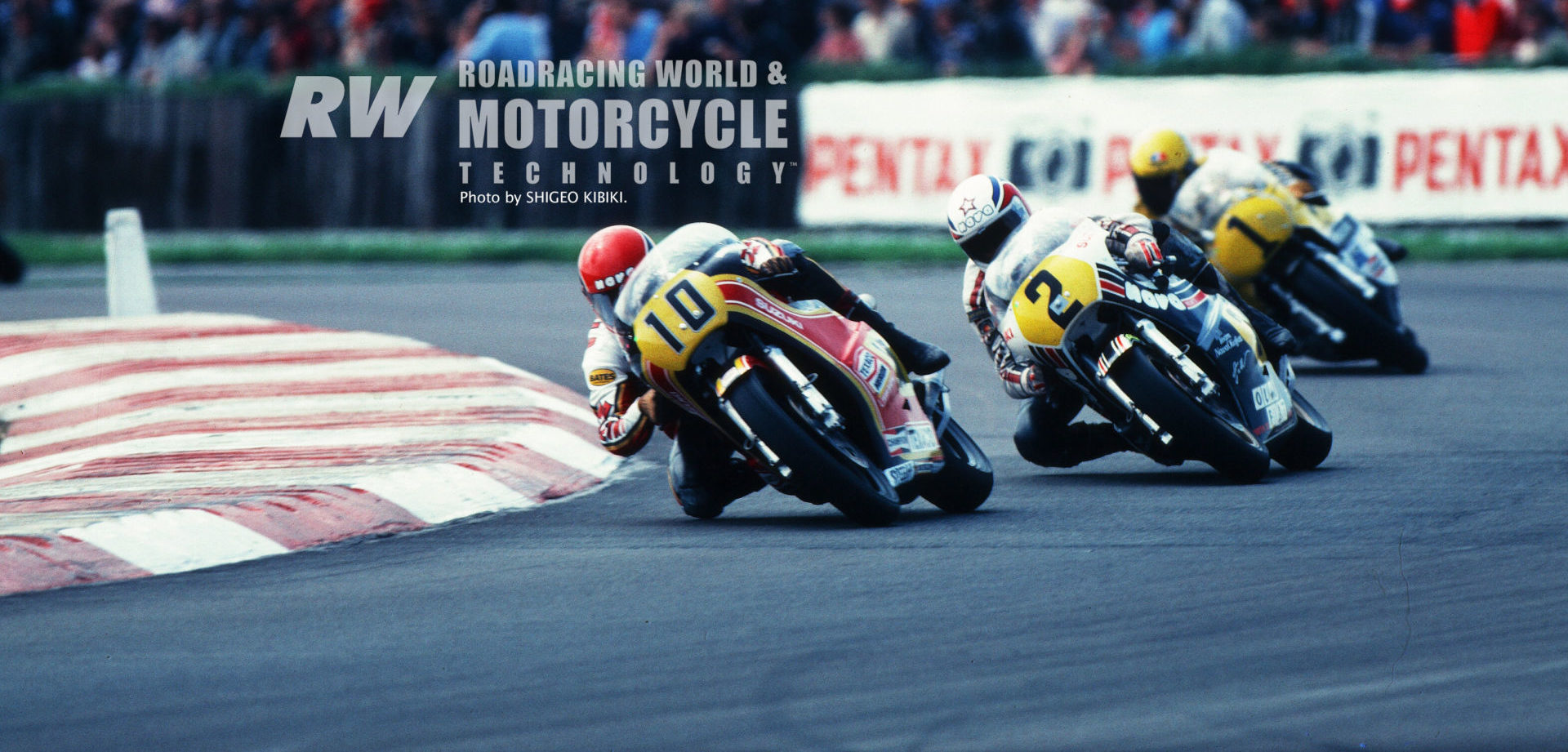 Randy Mamola (10) leads Suzuki's Marco Lucchinelli (2) and Yamaha's Kenny Roberts (1) at Silverstone, England, in 1980, where Mamola won, beating Roberts by 11 seconds with Lucchinelli a distant third. Photo by Shigeo Kibiki, copyright Roadracing World Publishing, Inc.
