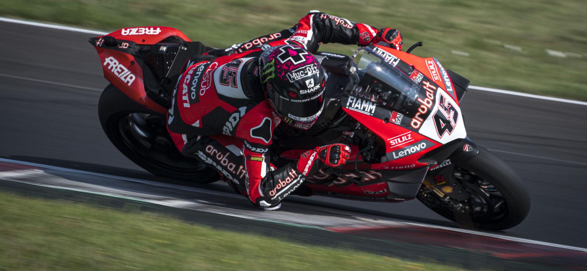 Scott Redding (45) at speed at Misano. Photo courtesy Ducati.