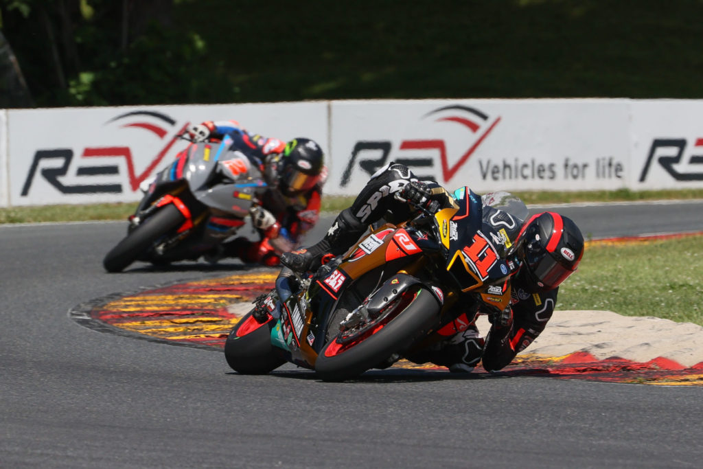 Mathew Scholtz (11) leads Josh Herrin (2) at Road America. Photo by Brian J. Nelson courtesy Westby Racing.