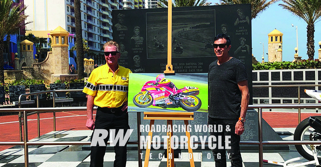 During the 2020 Daytona 200 Monument celebration, artist Lee Bivens (right) unveiled his portrait depicting David Sadowski (left) on his way to winning the 1990 Daytona 200. Photo by Robert Coy.
