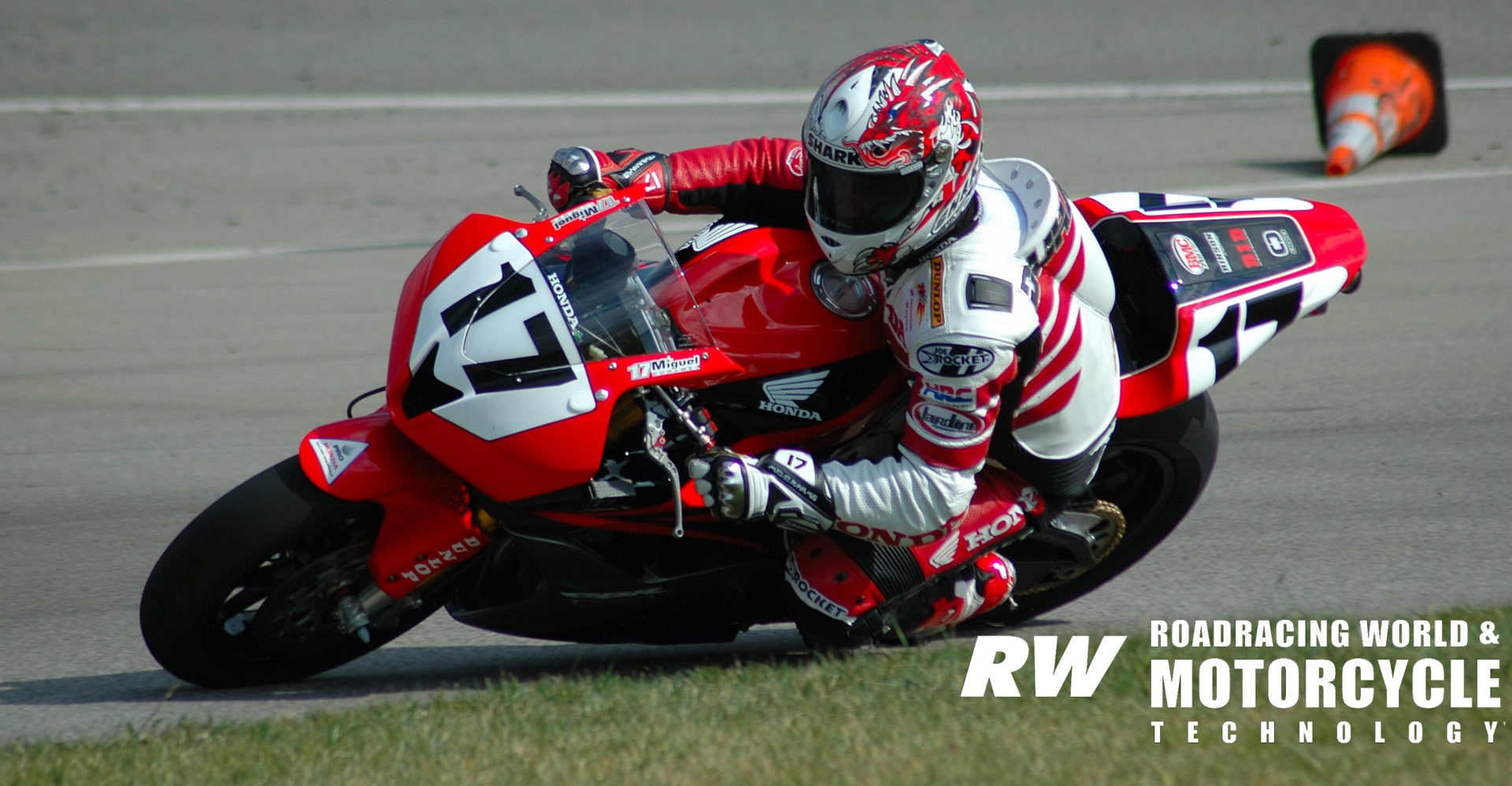 Miguel Duhamel (17), as seen testing his Honda CBR600RR AMA Pro Formula Xtreme racebike at Auto Club Speedway in 2007. Photo by David Swarts.