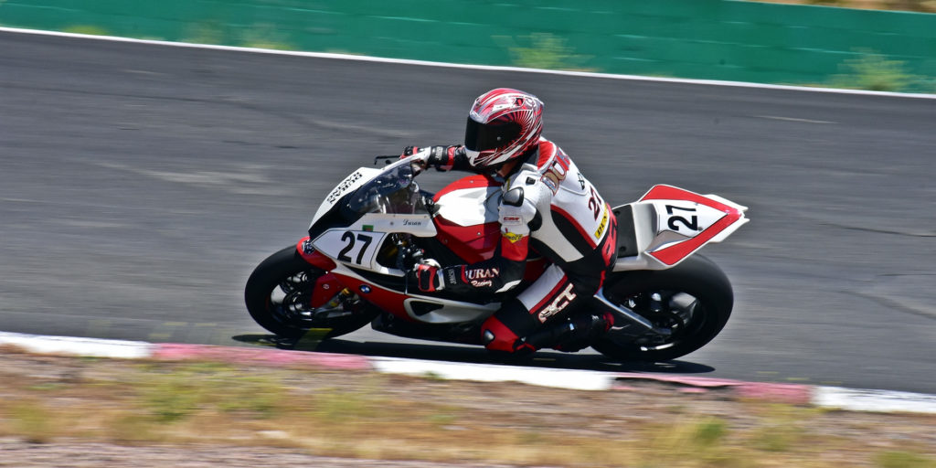 Chris Duran (27) won Sunday's Formula One race, as well as both A Superbike races.  Photo by Michael Gougis.