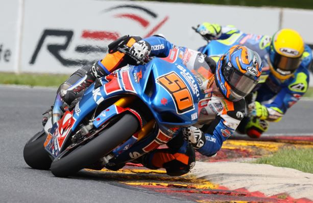 Bobby Fong (50) shows impressive speed on his Suzuki GSX-R1000 in Race 1. Photo by Brian J. Nelson, courtesy of Suzuki Motor of America Inc.