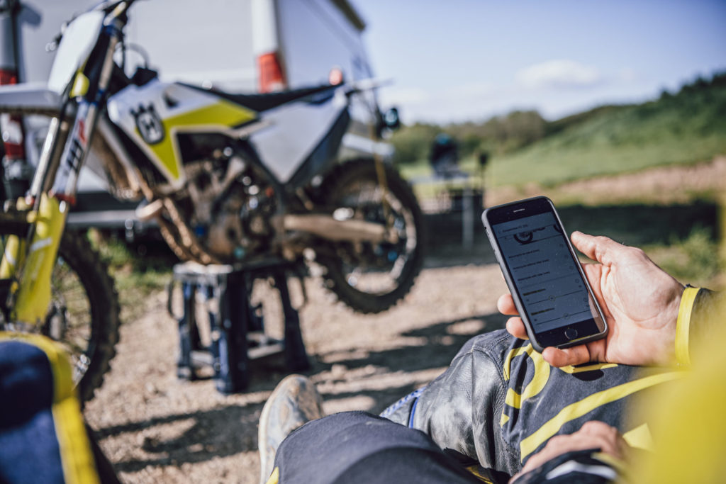 The new Husqvarna Motorcycles app combined with an accessory Connectivity Unit allows owners to remotely adjust engine performance and access suspension setup recommendations. Photo courtesy Husqvarna.