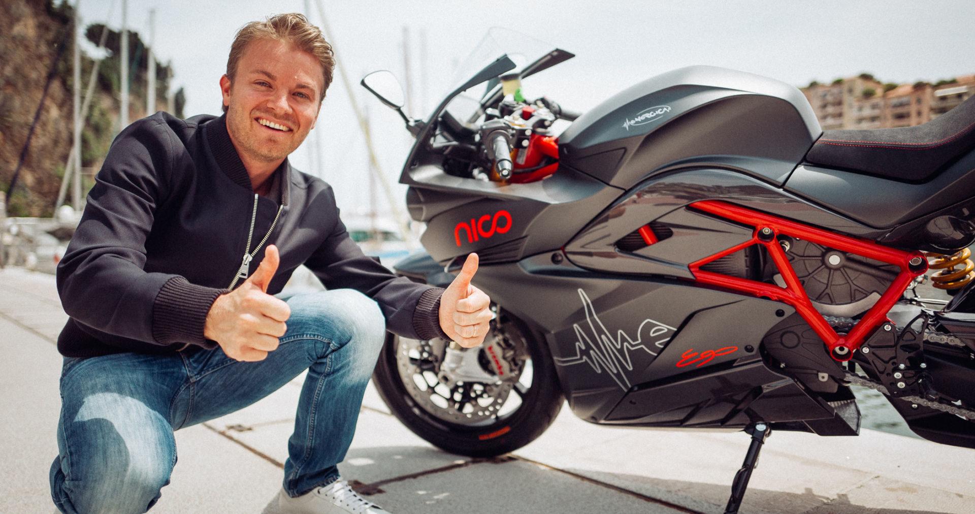 Nico Rosberg and his Energica Ego electric sportbike. Photo courtesy Energica.