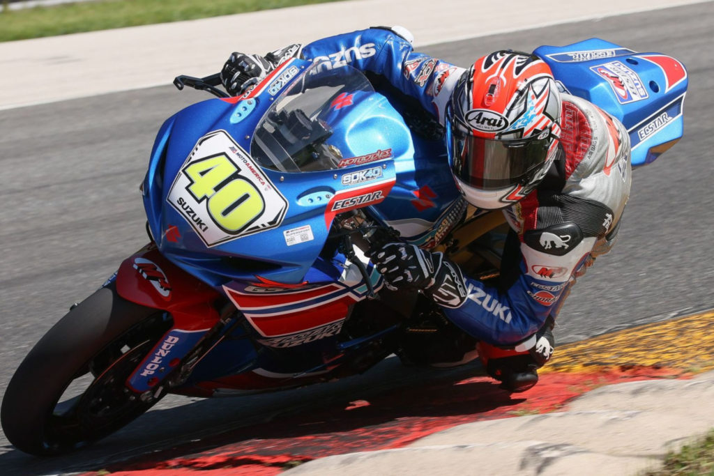 Sean Dylan Kelly (40) grabs a podium finish in the Supersport class on Sunday. Photo by Brian J. Nelson, courtesy Suzuki Motor of America Inc.
