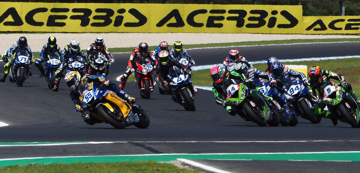 The start of the World Supersport race at Phillip Island. Photo courtesy Dorna WorldSBK Press Office.