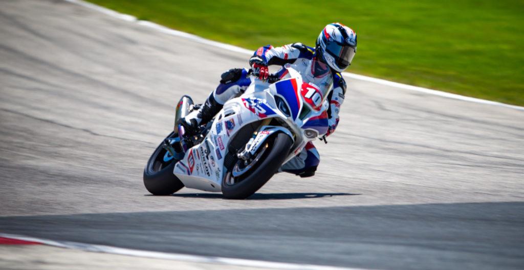 Travis Wyman (10) at speed. Photo by by BrockImaging, courtesy Travis Wyman Racing.