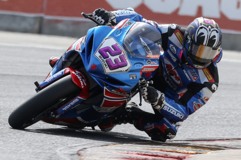 Lucas Silva (23) logged a solid seventh-place finish on his Suzuki GSX-R600 in Race 1. Photo by Brian J. Nelson, courtesy Suzuki Motor of America, Inc.