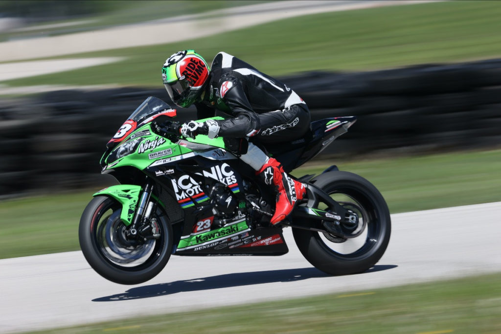 Corey Alexander (23) at speed at Road America. Photo by Brian J. Nelson, courtesy RideHVMC Racing.