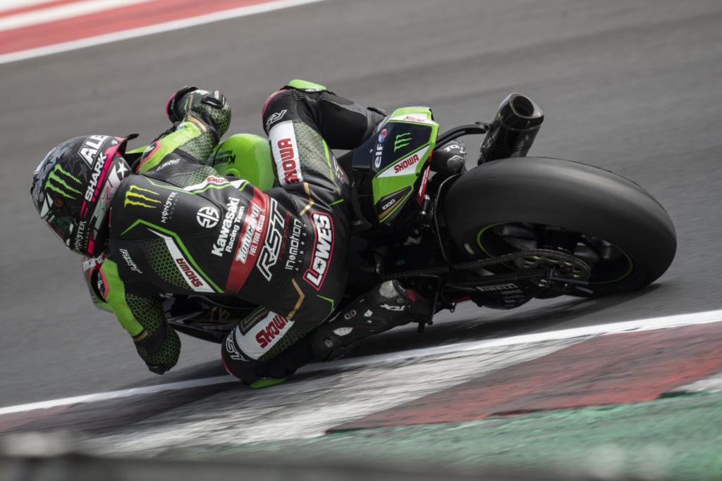 Alex Lowes (22) at speed at Misano. Photo courtesy Kawasaki.