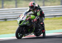 Jonathan Rea (1) at speed at Misano. Photo courtesy Kawasaki.