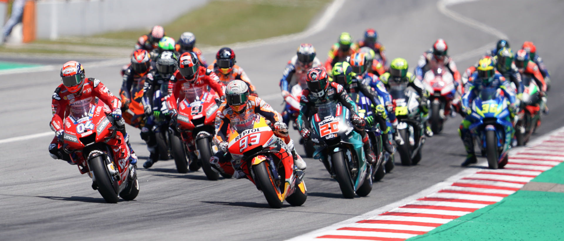 The start of the MotoGP race at Catalunya in 2019. Photo courtesy Dorna.