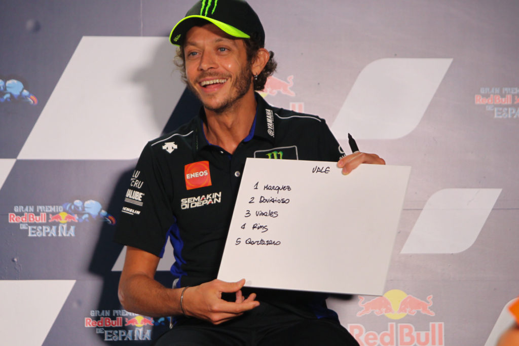Valentino Rossi answered two important questions - what might the Championship order look like this year, and whether he'll be back in 2021. The former answer is above, the latter answer sounded pretty sure. Photo courtesy Dorna.